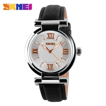 Skimei 9075 Women Fashion Leather Quartz Watch Fashion Waterproof Watch Black - intl