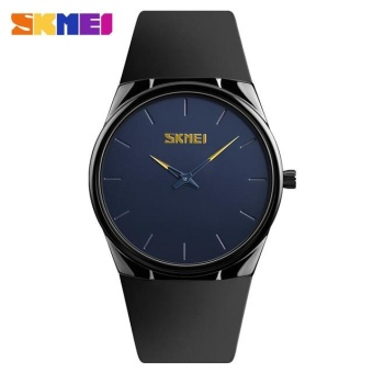 SKMEI 1601s Men's Ultra Thin PU Strap Quartz Sport Watch Men Waterproof Casual Wristwatch Blue -