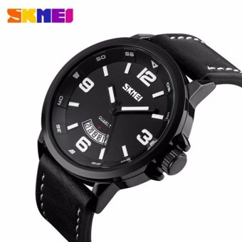 SKMEI Casual Men Leather Strap Watch Water Resistant Anti Air WR 30m 9115CL Tanggal Date Jam