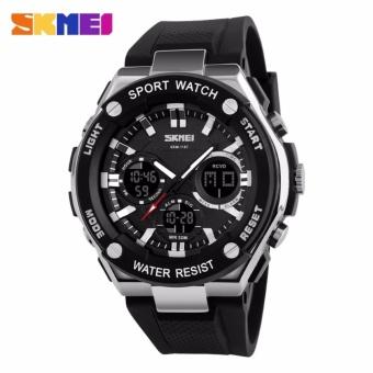 SKMEI Dual Time Men Sport LED Watch Anti Air Water Resistant WR 50m AD1187 Jam Tangan