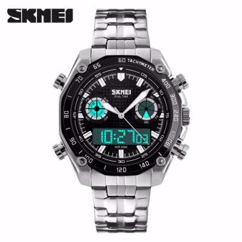 SKMEI Force Hitam - Jam Tangan Pria - Rantai Stainless Steel - 1204 Elegant Black + Free Box Jam Tangan Flash