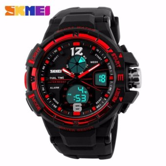 SKMEI Men Sport Analog LED Watch Anti Air Water Resistant WR 50m AD1148 Jam Tangan Pria Tali Strap Karet Wrist Watch Date Alarm Sporty Fashion Design - Hitam Merah