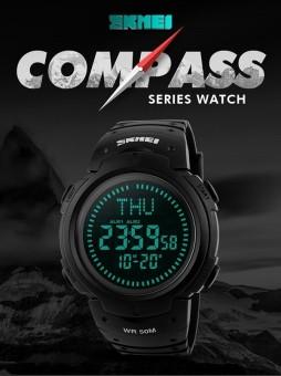 SKMEI Merek Watch Outdoor Olahraga Kompas Jam Tangan LED Digital Hiking Pria Elektronik Manusia