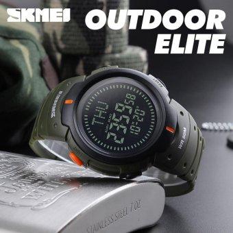 SKMEI Outdoor Man Olahraga Compass Watches Hiking Digital LED Elektronik Watch Chronograph Pria Clock Hijau