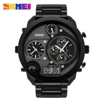 SKMEI Rhino Hitam - Jam Tangan Pria - Rantai Stainless Steel - AD1170 Executive Black + Free Box Jam Tangan Flash