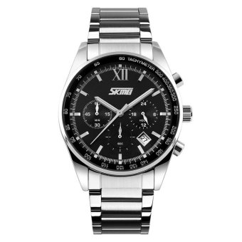 SKMEI Seize Hitam - Jam Tangan Pria - Rantai Stainless Steel - 9096 Formal Black + Free Box Jam Tangan Flash