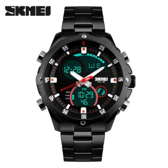SKMEI Viper Hitam - Jam Tangan Pria -  Rantai Stainless Steel -  AD1146 Executive Black + Free Box Jam Tangan Flash
