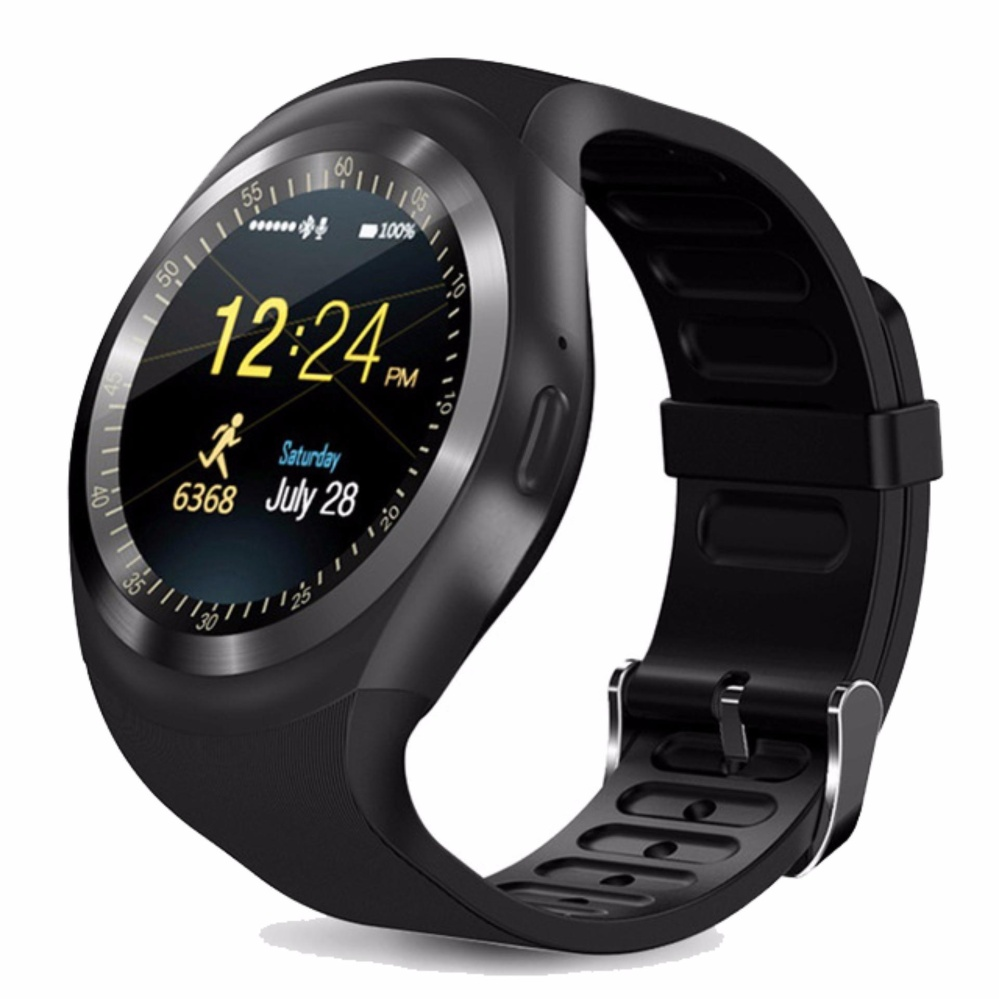 nice smart watch y1 with touch screen camera tf card bluetooth smartwatch for android & apple smart watch y1 – black