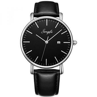 SONGDU Mens Ultra-Tipis QUARTZ Analog Tanggal Black Dial Leather Strap Wrist Watch ...