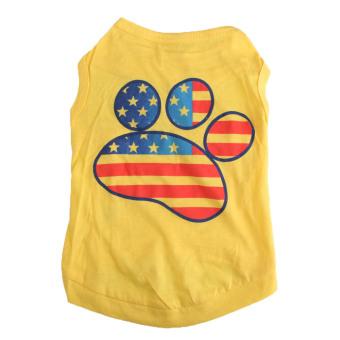 Hot Deals Panas Musim Anjing Peliharaan Kucing Kecil Pakaian T-shirt Tapak Rompi Cetak Kuning