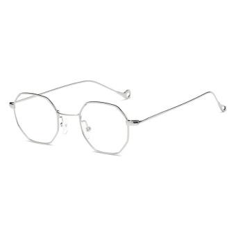 Sunglasses Laki-laki dan Perempuan Ocean Irisan Transparan Sunglassesretro Kecil Square Segi Delapan Kotak Perak