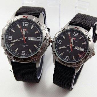 Swiss Army Couple - Jam Tangan Couple - Stainless Steel - SA 1493 Black Couple