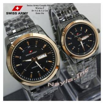 Swiss Army Couple - Stainless Steel - Jam Tangan Pria Dan Wanita - SA832NY Gold Black ...