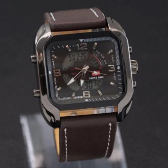 Swiss Army Dual Time - Jam Tangan Pria - LEATHER STREAP - SA 84 HJ