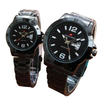 Swiss Army Jam Tangan Couple - Stainless Steel Strap - Black