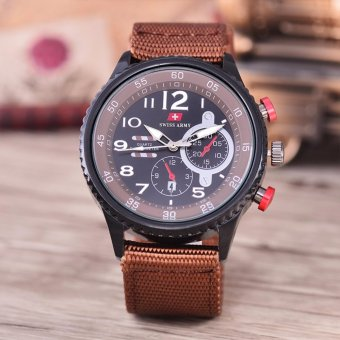 Swiss Army - Jam Tangan Pria - Body Black - Black Dial - Brown Nylon Strap - SA-9007B-BB-TGL-BROWN NYLON STRAP