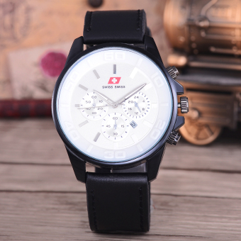 Swiss Swiss Jam Tangan Pria - Body Black - White Dial - Black Leather Strap - SA-KLT-7870C-Putih ...