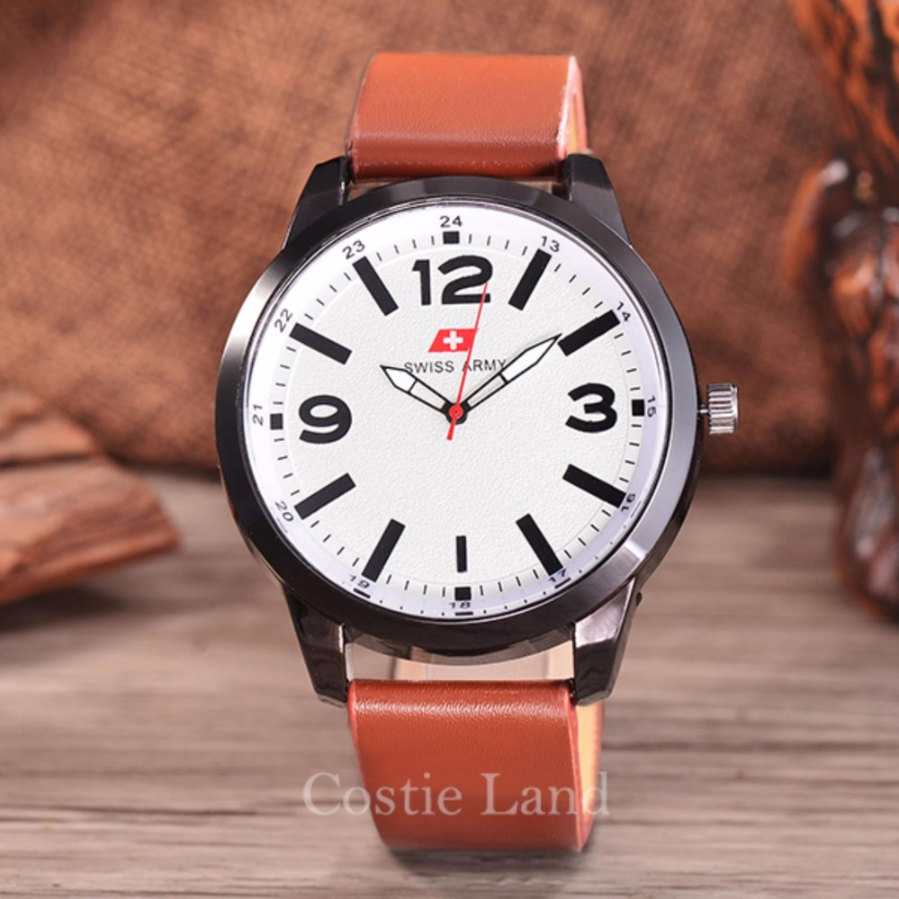 Swiss Army Jam Tangan Pria Body Silver White Dial Black Leather Coklat Gratis Dompet Kulit Hot