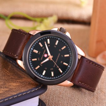 Swiss Army - Jam Tangan Pria - Body Rose Gold - Black Dial .