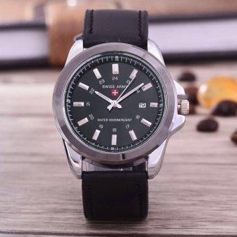 Swiss Army - Jam Tangan Pria - Body Silver - Black Dial - Hitam - Leather