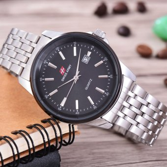 Shock Price Swiss Army - Jam Tangan Pria - Body Silver - black Dial - Stainless