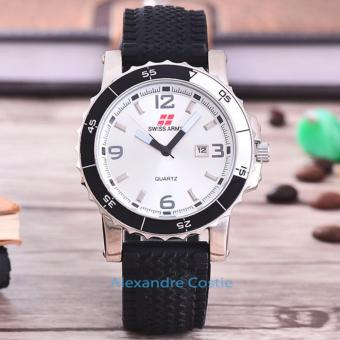 Swiss Army - Jam Tangan Pria - Body Silver - White Dial - Black Rubber - SA -3988H-Tgl-SW-BLACK RUBBER ...