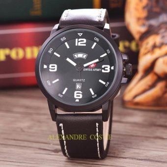 Swiss Army - Jam Tangan Pria - Body-Black - Black/White Dial - Black Leather Band-SA-5597D-BB/W-TH-Black Leather ...