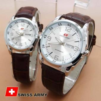 Swiss Army Jam Tangan Pria - Couple - Tali Kulit - Coklat Plat Silver - SA6635