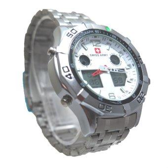 Swiss Army Men's - Jam Tangan Pria - Dual Time - Silver -