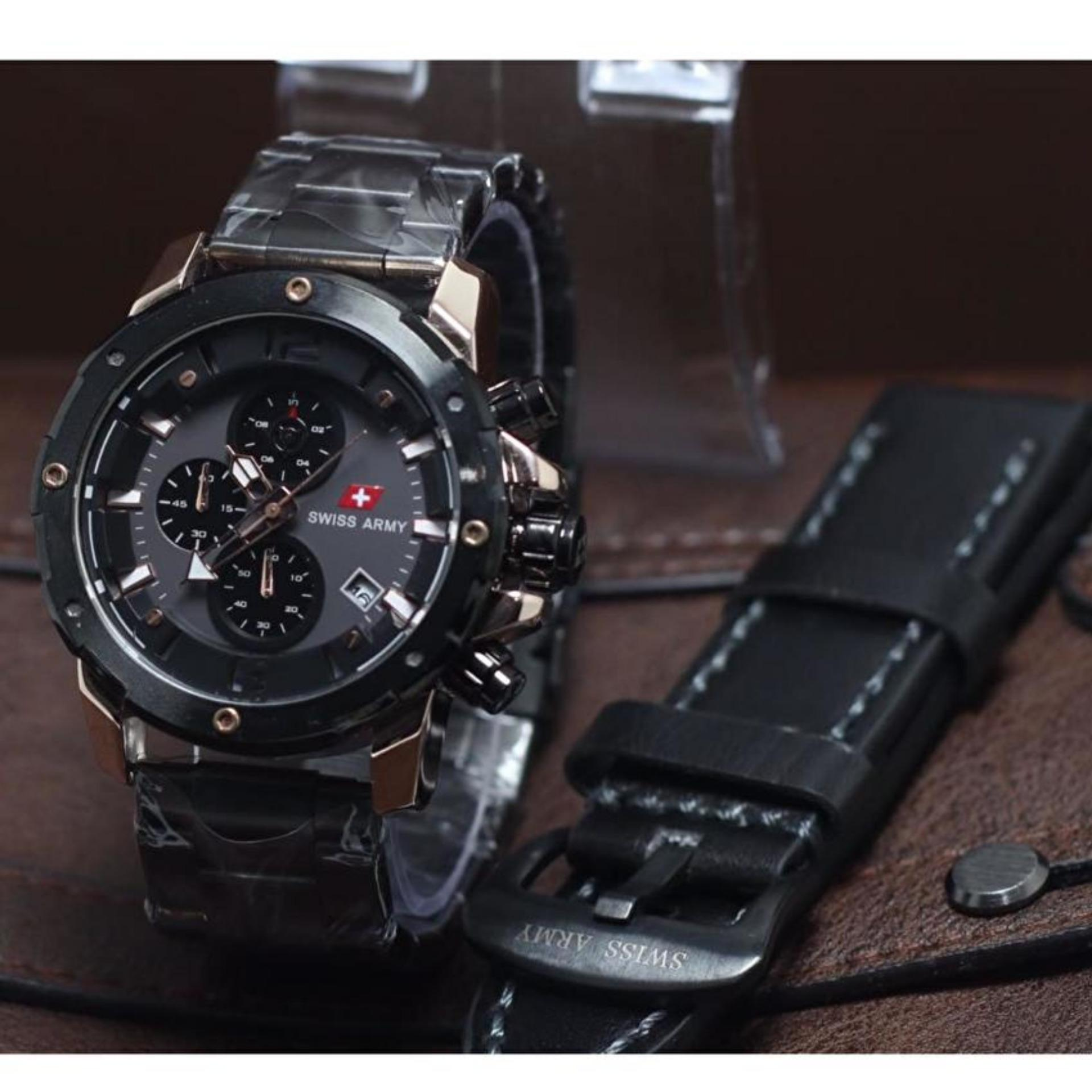 Swiss Army Chrono Sa9205m Jam Tangan Pria Double Strap Stainlessteel Dual Time Sa 1502 Full Black