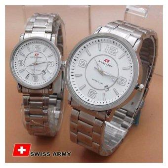 Swiss Army SA0029NY Couple (White Dial Silver) Jamtangan Pria&Wanita ...