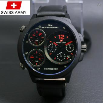 Swiss Army Triple Time - Jam Tangan Pria - Leather Strap --SA 744 ART