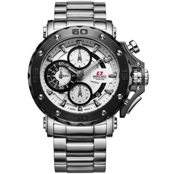 Swiss Navy Jam Tangan Pria Silver Putih Stainless Steel SN 8932