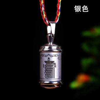 Tibet produk Buddha baja titanium Cat Kalachakra Liontin Berkotak Kalung jimat Liontin dengan Kitab Sutra