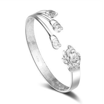 Item baru warna perak gelang Sanduo Bunga mawar Gelang Bagian Buka Tutup Bisa Digerakkan kemerahan Mekar