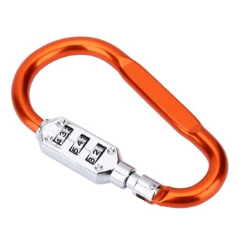 Tas Perjalanan Bagasi Kunci Kombinasi Keamanan Pengunci Carabiner Gembok Oranye-Internasional