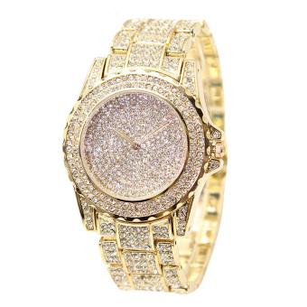 Trendi Wanita Jam Tangan Berlian Imitasi Diamond Watch Tinggi Kualitas Lady  Jam Tangan Emas 5cb53f66e5