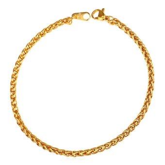 U7 3mm Gandum Rantai Gelang 18 K Emas Berlapis Fashion Punk Pria Perhiasan Hadiah Pesta Yang