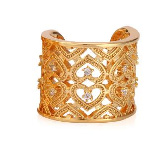 U7 Perhiasan Hati Hadiah Valentine 18 Karat Asli Berlapis Emas Kubik Zirkon Adapula Pertunangan Cincin Pernikahan