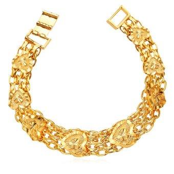 U7 Jantung Chunky Rantai Gelang 18 KB Nyata Emas Berlapis Fashion Wanita Perhiasan Hadiah Romantis Perfect