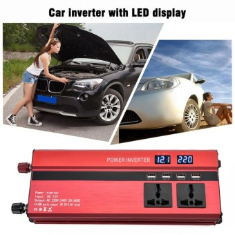 Ubest Portable 2000W Power Car Inverter with LCD Display 12V-220V 4 USB Ports - intl