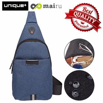 Unique Tas Selempang Anti Air - Bag Music Travel and Running Bag - Dark Blue
