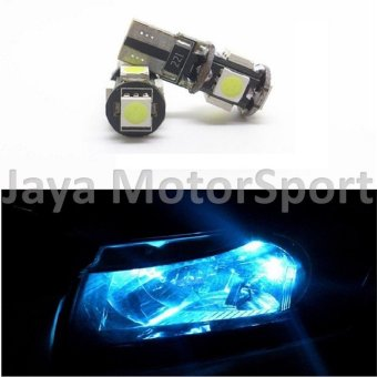 Universal - 1 Pair / 2 Pcs Lampu LED Mobil / Motor / Senja T10 w5w/ Wedge Side Canbus 5 SMD 5050 - Crystal Blue