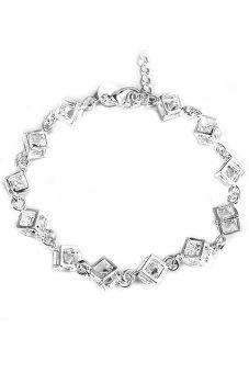 Vanker Wanita Girl SILVER DISEPUH Cube Kotak Crystal Chain Bangle Gelang