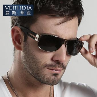 VEITHDIA 8459 Men's Brand Designer Sunglasses Polarized Aluminum UV400 silver frame grey lens for Men - intl