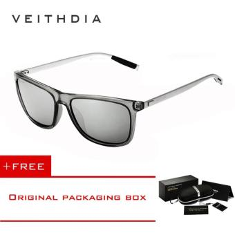 VEITHDIA Brand Unisex Retro Aluminum+TR90 Sunglasses Polarized Lens Vintage Eyewear Accessories Sun Glasses For Men/Women 6108 Grey)[ Buy 1 Get 1 Freebie ] - intl