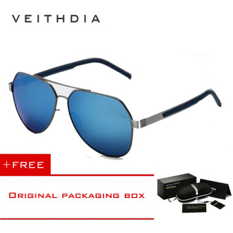 VEITHDIA Pantai Pria Outdoor Visor Sunglasses Lensa Resin Paduan FrameSummer Kacamata UV Protection Sun Glasses 3556 (Warna: Biru)-Intl