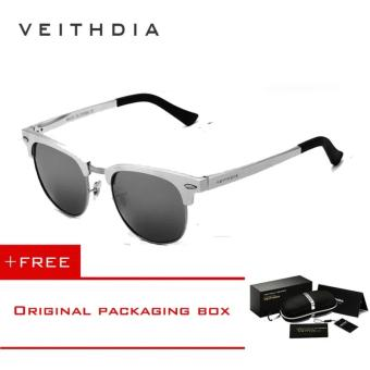 VEITHDIA Unisex Retro Aluminum Magnesium Sunglasses Polarized Mirror Vintage Outdoor Eyewear Accessories Sun Glasses 6690 (Silver) - intl