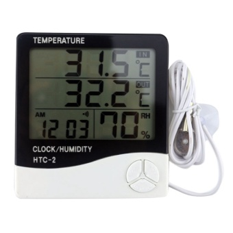 ... Hitam Daftar Source · Weather Station Digital LCD Suhu Kelembaban Meter Indoor Outdoor Room Jam Termometer Hygrometer dengan Sensor