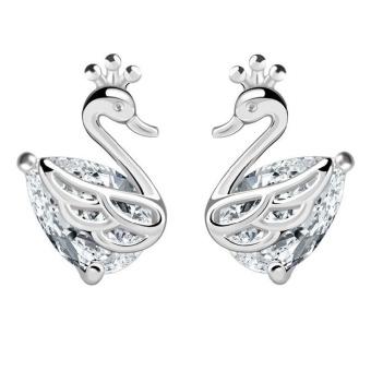 Wanita Fashion Crown Swan Ear STUDS Anting-Anting (Silver)-International
